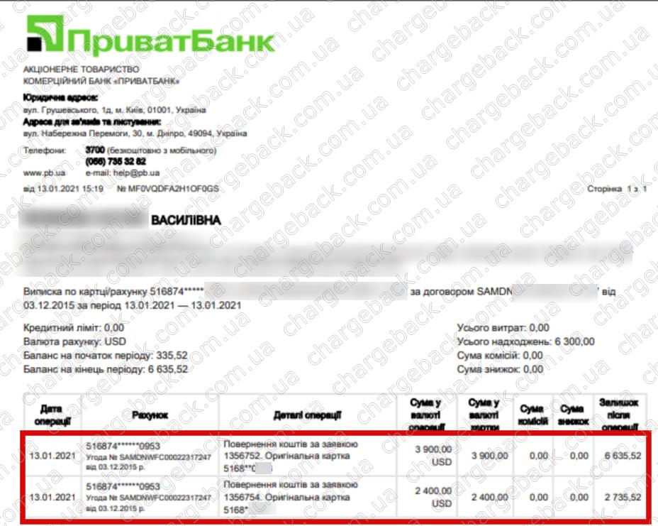 13.01.2021 возврат из TradersHome 6300 USD