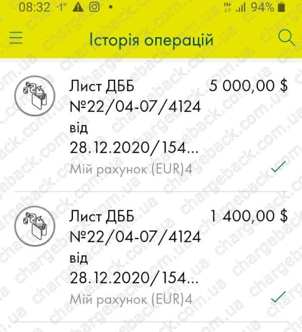 10.01.2021 возврат из Tradershome 6400 USD