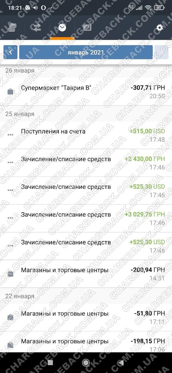 27.01.2021 возврат из tradershome 1565 USD и 5459,75 грн