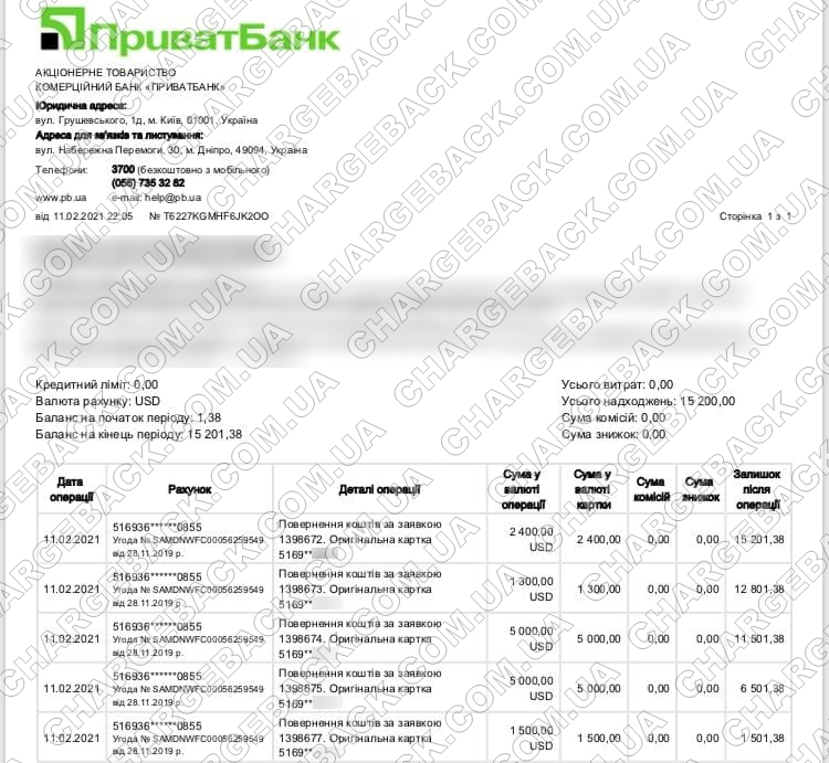 11.02.2021 возврат из Tradershome 15200 USD