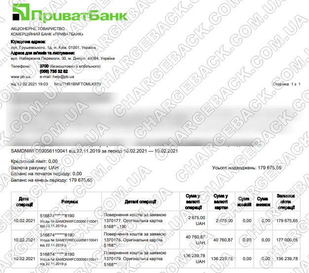 12.02.2021 возврат из Tradershome 179 675,65 грн