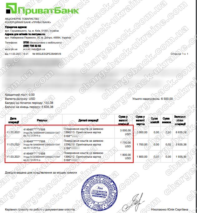 11.03.2021 возврат из TradersHome 6500 USD