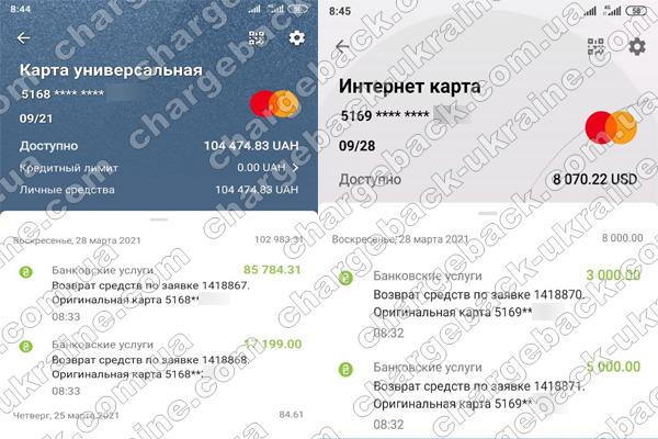 28.03.2021 возврат из Tradershome 102 983,31 грн. и 8000 USD