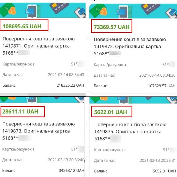 14.03.2021 возврат из Tradershome 216 298,34 грн