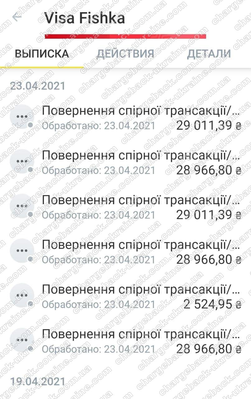 23.04.2021 возврат из TradersHome 147448,13 грн