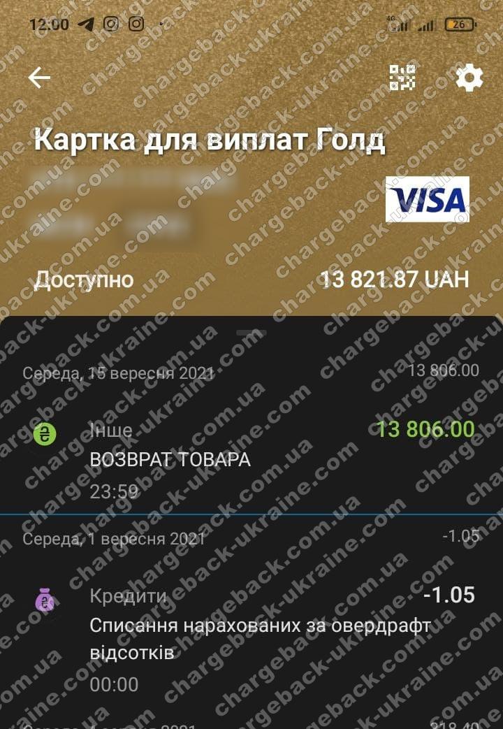 16.09.2021 возврат (chargeback) из LimeFX 13806 грн