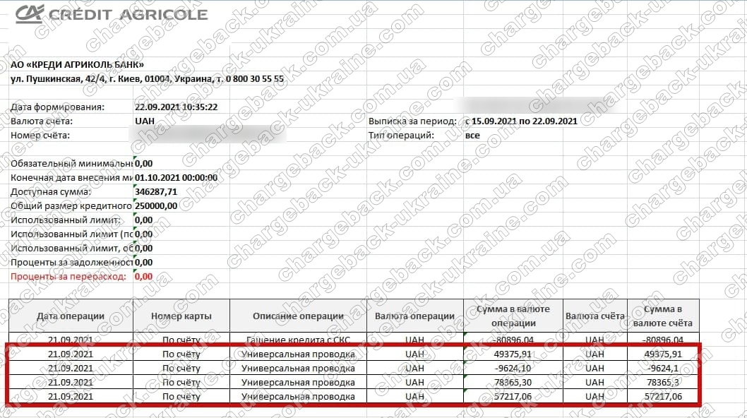 22.09.2021 возврат (chargeback) из Vlom 194 582,37 грн