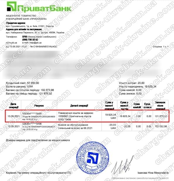 13.09.2021 возврат (chargeback) из vlom 19 825,34 грн