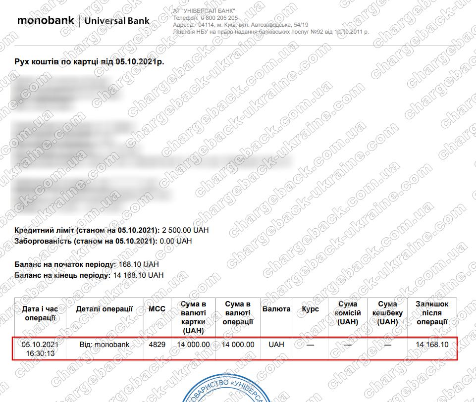 05.10.2021 возврат (chargeback) из Lime FX 14000 грн