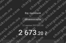 12.08.2021 возврат из Amerom 2673,20 грн