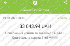 24.03.2021 возврат из Amerom 33043,94 грн