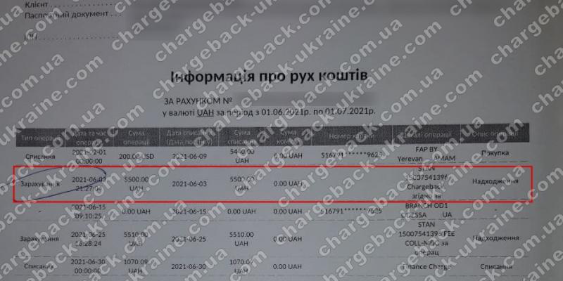 14.08.2021 возврат из Legacy FX 5500 грн