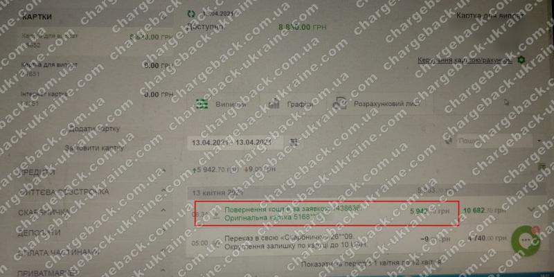 15.04.2021 возврат из Mono Trade 5942,70 грн