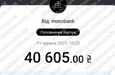 11.06.2021 возврат из TRADERSHOME 40 605 UAH