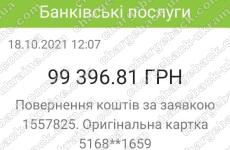 18.10.2021 возврат (chargeback) из VLom 99 396,81 UAH