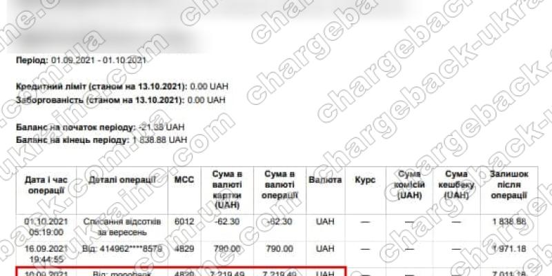 13.10.2021 возврат (chargeback) из Vlom 7219,49 UAH