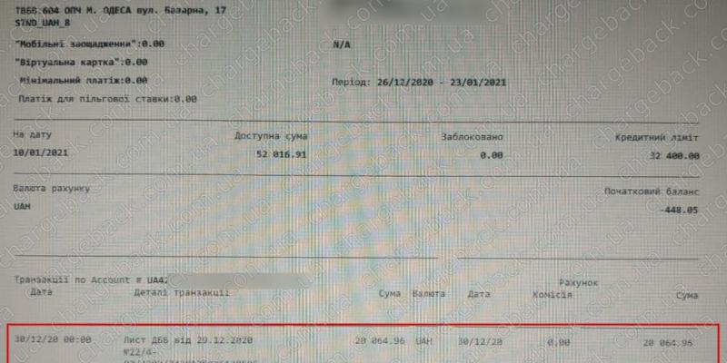 10.01.2021 возврат из amerom.de 20064,96 грн