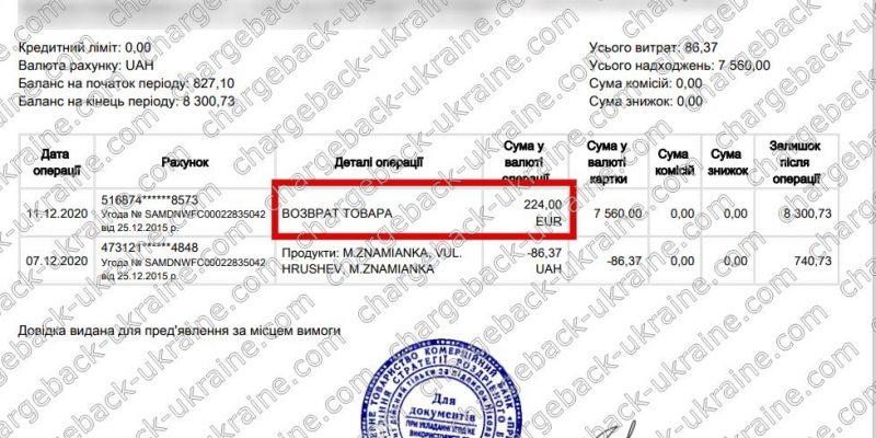 12.12.2020 возврат из Amerom.de 224 EUR